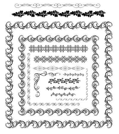 Vintage calligraphic and floral borders and frames collection Çizim