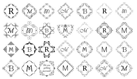 Vintage calligraphic frames and vignette set for heraldic and wedding design.