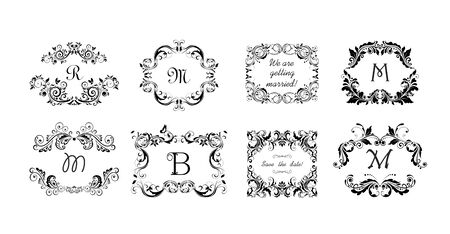 Vintage calligraphic frames, headers and vignette for heraldic and wedding design.