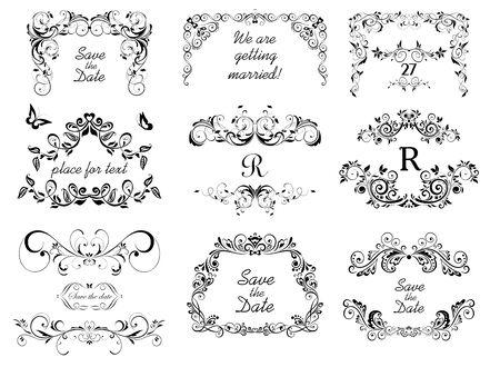 Vintage calligraphic frames, headers and vignette for wedding and heraldic design. Çizim