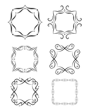 Vintage frames, vignette, book titles and fashion labels for typography design, boutique, sign-board Çizim