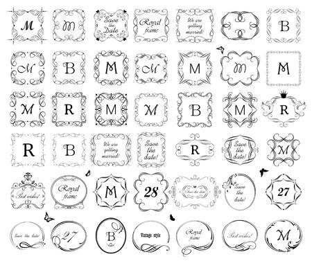 Vintage wedding frames, vignette, book titles and headers set for typography design, labels, boutique, sign-board, greetings, invitations Çizim