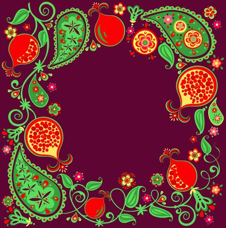Floral ethnic border with abstract pomegranate tree, fruit, flowers and paisley on dark lilac background Reklamní fotografie - 131595177