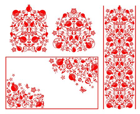 Red design for Moslem wedding greetings with abstract floral pattern with pomegranate Çizim