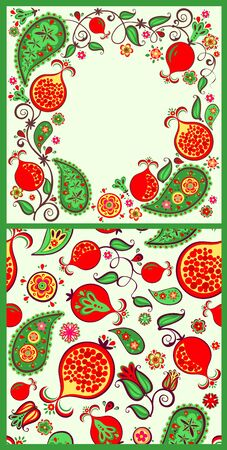 Seamless ethnic decorative oriental pattern and floral border with pomegranate juicy fruits, leaves and flowers for fashion print, greeting card and wallpaper