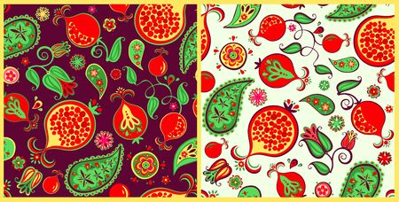 Seamless ethnic decorative oriental patterns variation with pomegranate juicy fruits, leaves and flowers for fashion print, wrapping paper and wallpaper Çizim