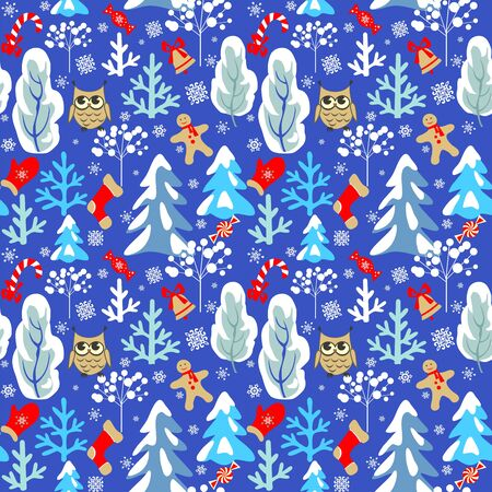 Childish seamless Christmas winter pattern with snowy firs, trees, owl, jingle bell, mitten, sock, candy and snowflakes on blue background for fabric, wrapping, textile, wallpaper, apparel Stock Illustratie