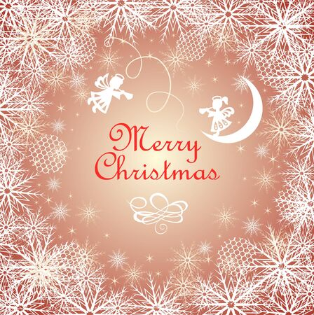 Christmas magic greeting golden card with snowflakes and paper cutting little angels Stock Illustratie