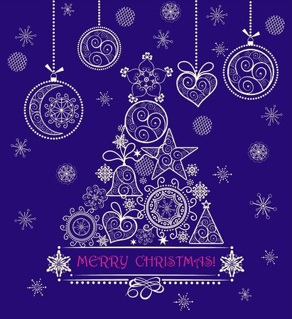 Christmas vintage greeting violet card with decorative lacy golden tree and hanging baubles