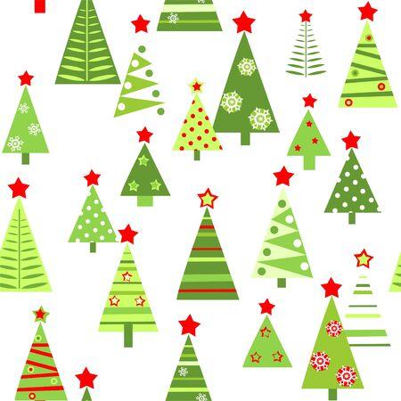 Fond d'écran drôle sans couture avec des sapins verts abstraits en papier découpé avec des étoiles rouges pour la conception de voeux de Noël. Style plat