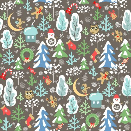 Childish funny Christmas wallpaper with seamless pattern with little angels, owl and snowman, snowy firs and trees, crescent, candy and wreath Stock Illustratie