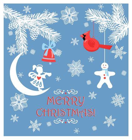 Carte de voeux de Noël en papier bleu pastel avec branches blanches de conifères découpées, cône, petit ange, clochette, jouet d'oiseau cardinal du nord suspendu, pain d'épice et flocons de neige faits à la main en papier