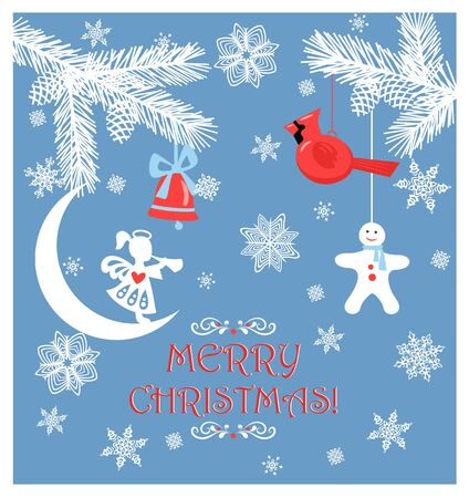 Paper Christmas greeting pastel blue craft card with cut out conifer white branches, cone, little angel, jingle bell, hanging northern cardinal bird toy, gingebread and paper handmade snowflakes