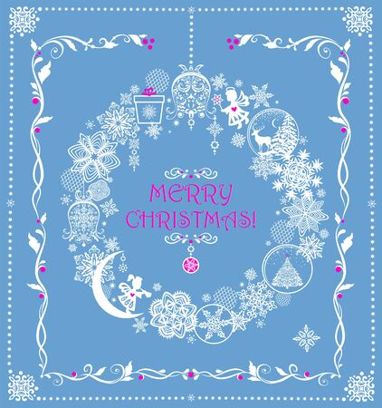 Christmas greeting pastel blue card with hanging craft wreath with paper cutting snowflakes, little angels, jingle bell, Xmas tree, gift box and reindeer