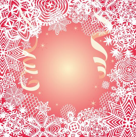 Golden card for winter holidays with paper snowflakes and streamers. Magic christmas greeting