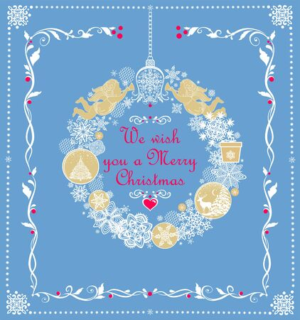 Greeting Christmas pastel blue card with hanging craft wreath with gold angels, paper cutting snowflakes, jingle bell, gift box, balls with Xmas tree and reindeer Ilustração
