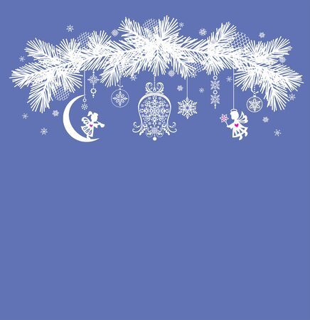Christmas arch with fir tree paper cutting white branches with hanging angels and snowflakes on the blue-gray background. New Year holidays retro concept with space for text Ilustração