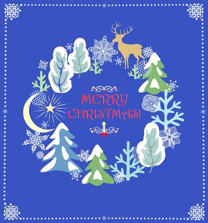 Christmas vintage greeting card with craft frame with snowy trees and conifer, reindeer, crescent, star and paper cutting snowflakes Ilustração