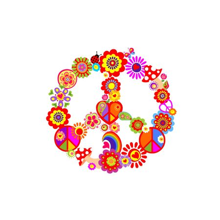 Fashion colorful print with groovy Peace Hippie Symbol with flower-power, fly agaric, rainbow for T shirt, bag, textile on the white background