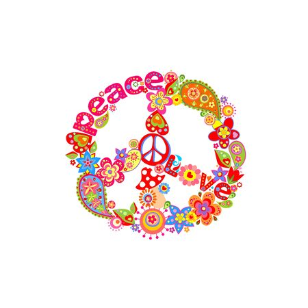 Groovy fashion print for T shirt, textile and bag design with Peace Hippie flower Symbol, fly agaric and paisley