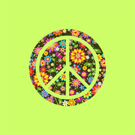 Peace Hippie Symbol over colorful flowers background. Print for T shirt, bag, fashion textile