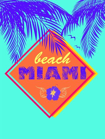 Fashion mint color neon print with Miami beach lettering with navy blue coconut palm leaves and hibiscus T shirt, bag, label, tags, summery party poster, summer sale