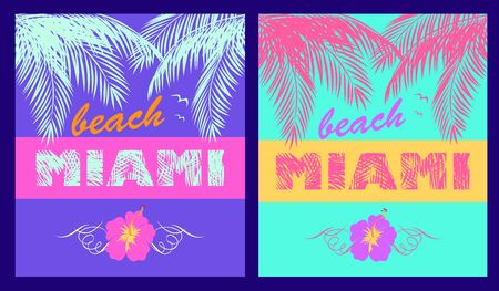 Fashion neon prints variation with Miami beach lettering, coconut palm leaves, seagull and hibiscus for beach party poster, t shirt, bag and other design Иллюстрация