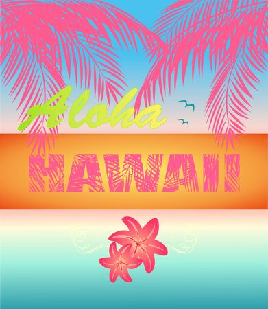 Fashion summer neon print with ocean sunset, pink Aloha Hawaii lettering, lily and coconut palm leaves for beach party poster, t shirt and bag design