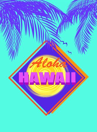 Fashion t shirt mint color neon print with Aloha Hawaii lettering, coconut navy blue palm leaves and abstract yellow sun