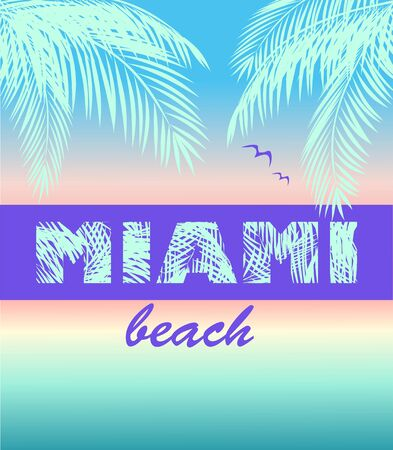 Fashion t shirt neon print with ocean sunset, Miami beach lettering, coconut mint color palm leaves and seagull