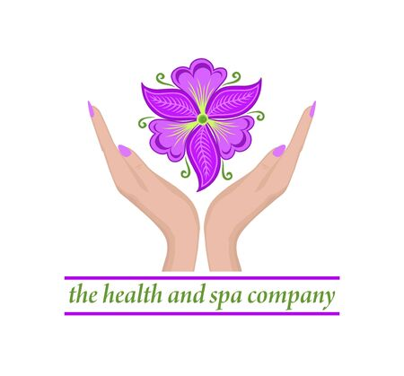 Logo template with female hands holding beautiful abstract violet phalaenopsis flower for healthcare, spa and massage salon, cosmetics, beauty industry