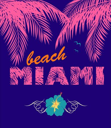 Violet background with Miami beach lettering, pink coconut palm leaves, blue hibiscus and seagull for night beach party invitation, poster, t shirt, textile and bag print and other design