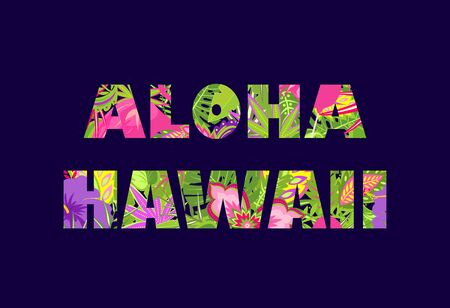 Aloha Hawaii lettering with tropical floral print on the navy blue background for t shirt, fashion and bag design