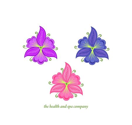 Beautiful abstract vector orchid and garden violet flowers variation for design, healthcare, spa and massage salon, cosmetics, beauty industry, wedding card isolated on the white background