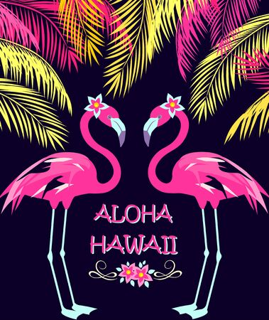 Funny invitation for night beach party in Hawaiian resort with coconut palm leaves, cut pair pink flamingo and frangipani flowers. Print for poster, t shirt, wedding, bag design