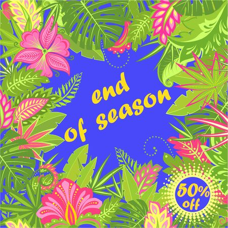 Label for summer sale with tropical leaves and exotic flowers