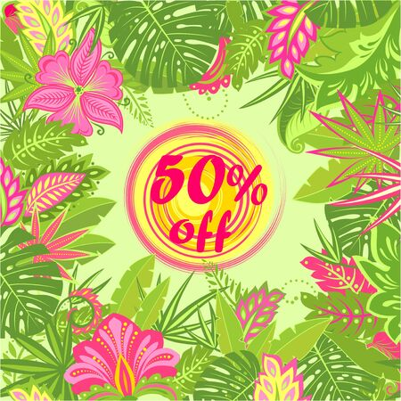 Offer for hot summer sale with tropical floral print