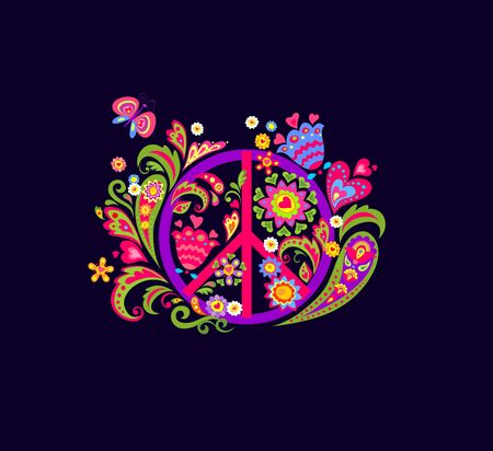 Vivid T shirt fashion print with Peace Hippie Symbol, abstract colorful flowers and paisley for textile art on black background Vetores