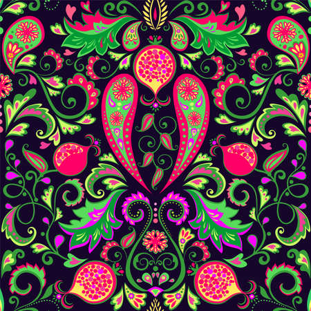 Magic Persian traditional carpet with vintage floral seamless pattern with pomegranates, paisley, exotic leaves and flowers Vecteurs