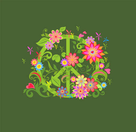 T shirt fashion print with Hippie peace flower symbol on the khaki background Vektorové ilustrace