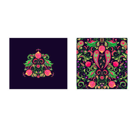 Design set with art decoration and magic Persian traditional carpet with vintage floral seamless pattern with pomegranates, paisley, exotic leaves and flowers