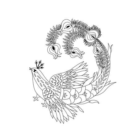 Decorative black and white magic bird for adult anti stress coloring page, t shirt print and henna tattoo