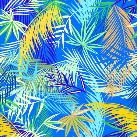 Seamless blue wallpaper with colorful coconut and fan-leaved palm leaves. Tropical background Ilustração