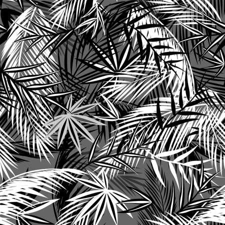 Seamless black and white background with coconut and fan-leaved palm leaves. Tropical print for fashion textile and wallpaper