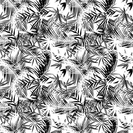 Seamless pattern with coconut and fan-leaved palm leaves. Tropical background. Black and white wallpaper