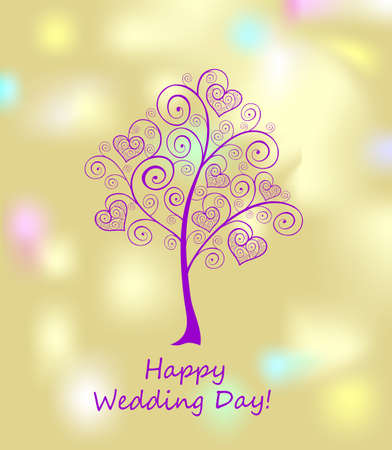 Golden greeting wedding card with decorative violet tree with hanging hearts Ilustração
