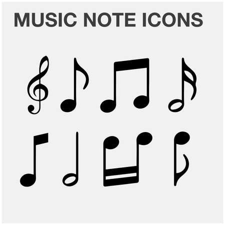 all kinds of music notes vector icons collection set black and white, minimalist design.