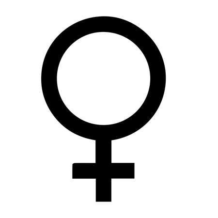 black colored men and women gender signs vector icons on white simple background