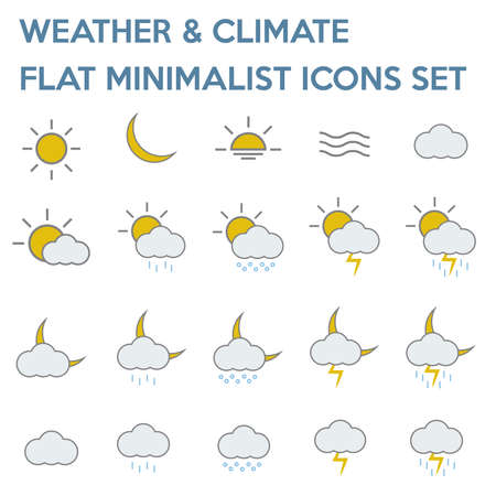 weather and climate flat minimalist icons set - colored version.