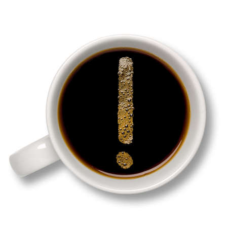 Top view of an isolated cup of coffee with a coffee bubble exclamation mark inside. Stock Photo